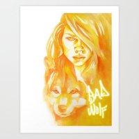 bad wolf Art Prints featuring Bad Wolf by Erin Garey
