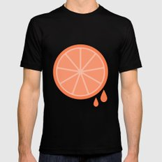 #51 Orange MEDIUM Mens Fitted Tee Black