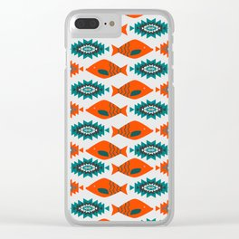 Ethnic pattern with fish Clear iPhone Case