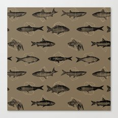 Fishes In Geometrics (Dark Sand) Canvas Print