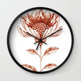 Lampshade Flower Drawing in Rust Wall Clock