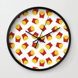 FRENCH FRIES POMMES FAST FOOD PATTERN Wall Clock