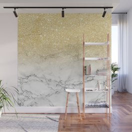 Modern faux gold glitter white marble color block Wall Mural