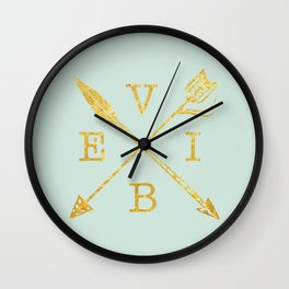 VIBE - Feather Arrow Cross - GOLD Wall Clock