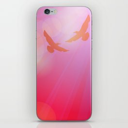 Birds, seagulls silhouette on pink background, sunset, dawn. iPhone Skin