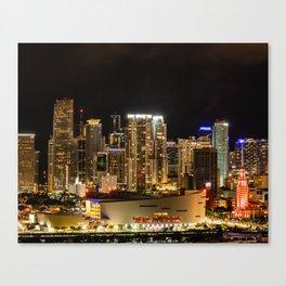 City of Miami at Night Canvas Print