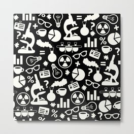 Black and White Science Pattern Metal Print
