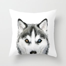 Siberian Husky dog with two eye color Dog illustration original painting print Throw Pillow