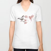 silhouette V-neck T-shirts featuring Blossom Bird  by Terry Fan