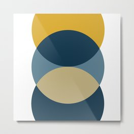 Rise of the Sun - Yellow, Blue, Geometric Art Metal Print