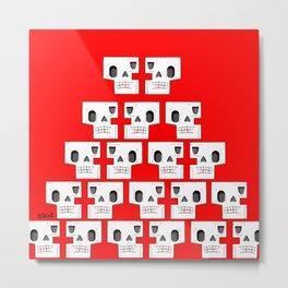 Skull Pyramid (Red) Metal Print