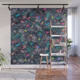 Birds and Flowers Color Pencil Wall Mural