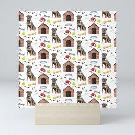 Rottwelier Dog Half Drop Repeat Pattern Mini Art Print
