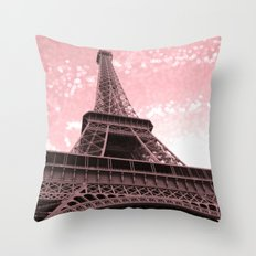 Paris Pink Eiffel Tower Throw Pillow