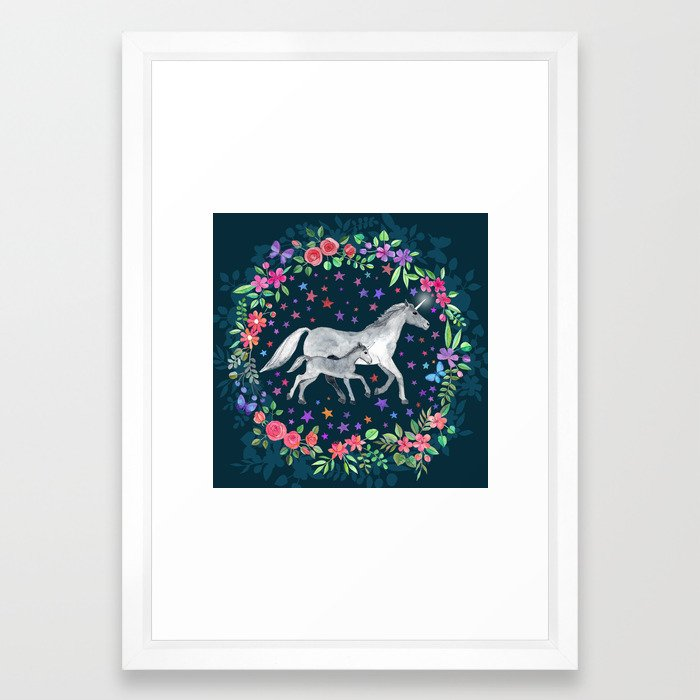 Mama And Baby Unicorn Framed Art Print By Micklyn Society6