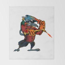 Cartoon Mascot Image of a Raven Throw Blanket