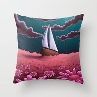 pushing daisies Throw Pillows featuring Pushing Daisies by slewisillustration