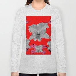 MODERN ART RED ART NOUVEAU WHITE ORCHIDS ART Long Sleeve T-shirt
