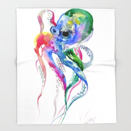 Rainbow Octopus, blue green octopus decor Throw Blanket