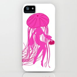 Pink Meanie Jellyfish Pinup iPhone Case