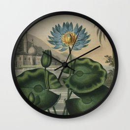 Temple of Flora Blue Egyptian Water Lily Wall Clock