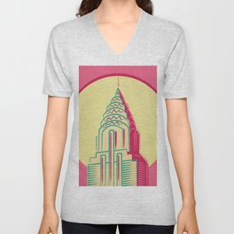 New York Nights - Manhattan Skyline Pop Art in Kitschy Candy Colors Unisex V-Neck