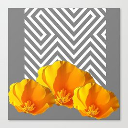 ABSTRACT CONTEMPORARY YELLOW POPPIES PATTERNS Canvas Print
