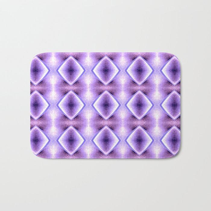 Blue Purple Geometric Diamond Pattern Design Bath Mat