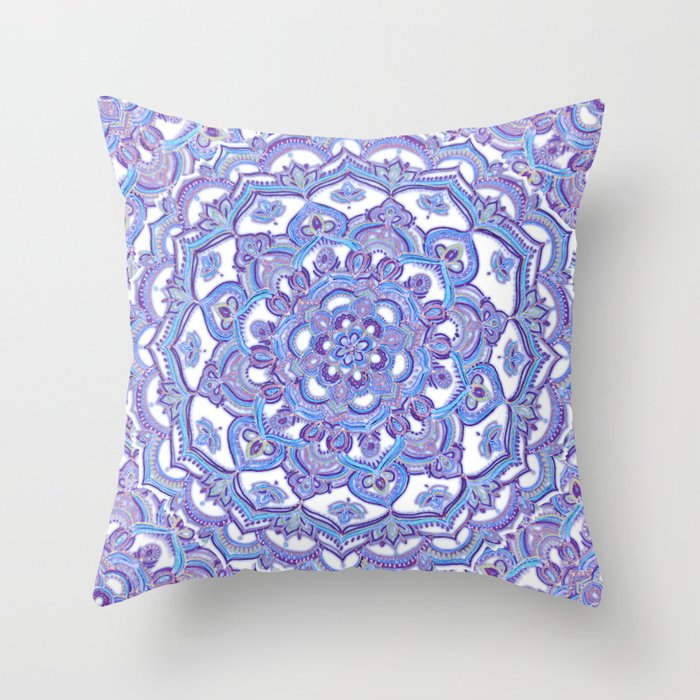 Lilac Floral Throw Pillow : Lilac Spring Mandala - floral doodle pattern in purple & white Throw Pillow by micklyn Society6