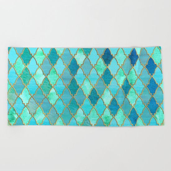 Aqua Teal Mint and Gold Oriental Moroccan Tile pattern Beach Towel