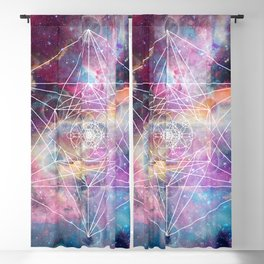Watercolor and nebula sacred geometry  Blackout Curtain