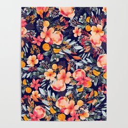 Navy Floral Poster