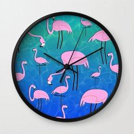 Flamingo Pond Wall Clock