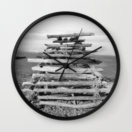 Driftwood Fort Beach Coast Coastal Nautical Seascape Northwest Pacific Ocean Washington Teepee Waves Wall Clock