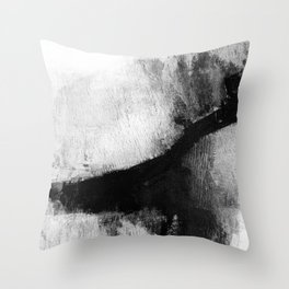 """Black and White Textured Abstract Painting """"Delve 2"""" Throw Pillow"""