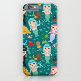 Mermaid with pirate, dark blue sea background iPhone Case