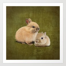 Portrait of two small bunnies Art Print