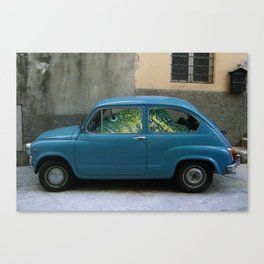 Fish Driving Blue Car Surreal Collage Canvas Print