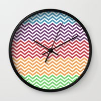 gumball Wall Clocks featuring Gumball Chevron by Wicked Cool Studio