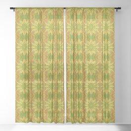 Sun Flower, Sunflower, Bohemian Floral Mandala Pattern Sheer Curtain