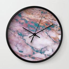 marble pink blue glitter Wall Clock