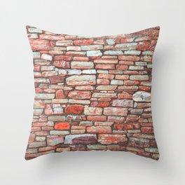 Brick Wall (Color) Throw Pillow