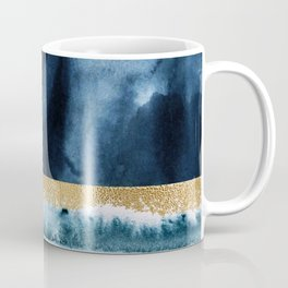 Navy Blue, Gold And White Abstract Watercolor Art Coffee Mug