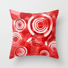 circles red and white Throw Pillow
