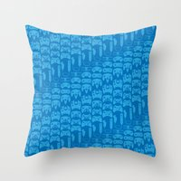 video game Throw Pillows featuring Video Game Controllers - Blue by C.Rhodes Design