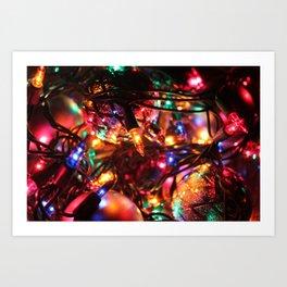 Colored Christmas Lights Art Print