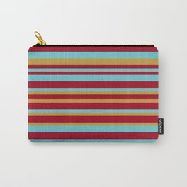 Golden, Red Wine and Turquoise Vintage Stripes Carry-All Pouch