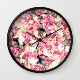 Abstract flowers, pink, shabby pink, summer Wall Clock
