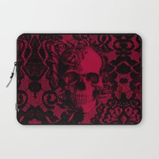 Gothic Lace Skull in red and black. Laptop Sleeve