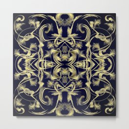 dark blue Digital pattern with circles and fractals artfully colored design for house and fashion Metal Print